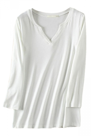 White Casual Womens V-neck Long Sleeve T-shirt