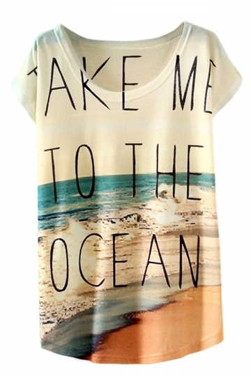 White Ladies Crew Neck Short Sleeve Sea Beach Printed T-shirt