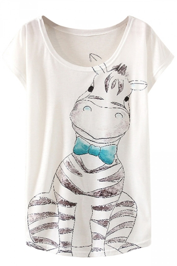 White Cute Womens Crew Neck Short Sleeve Zebra Printed T-shirt