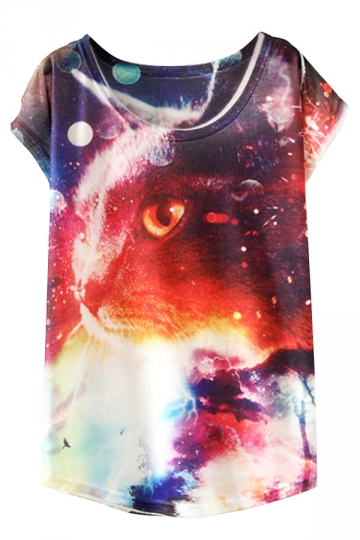 White Ladies Crew Neck Short Sleeve Galaxy Cat Printed T-shirt