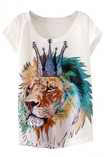 White Womens Crew Neck Short Sleeve Lion in Crown Printed T-shirt