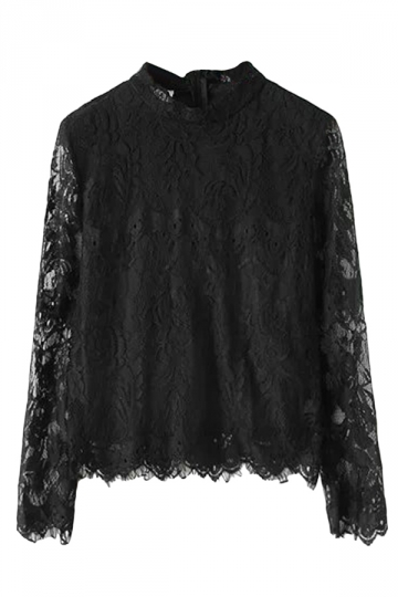 Black Sexy Ladies Stand Collar Long Sleeve Lace Blouse
