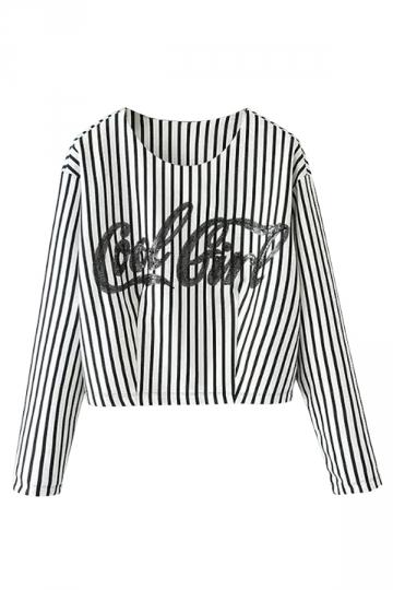 White Pretty Womens Crew Neck Letters Stripe Printed Crop Top