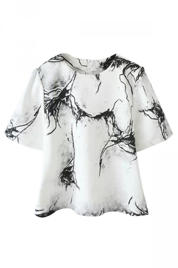 White Womens Crew Neck Short Sleeve Marble Vein Printed T-shirt
