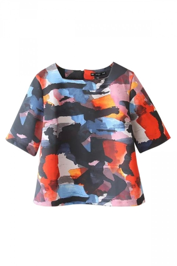 Orange Ladies Square Neck Short Sleeve Colorful Printed T-shirt