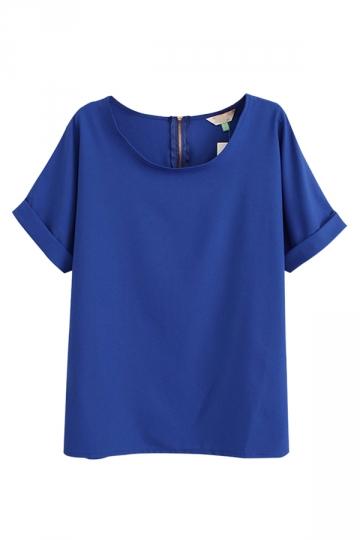 Blue Charming Ladies Plain Crew Neck Short Sleeve T-shirt