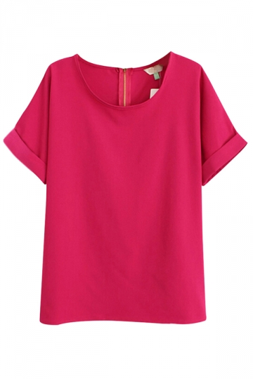 Rose Red Charming Ladies Plain Crew Neck Short Sleeve T-shirt