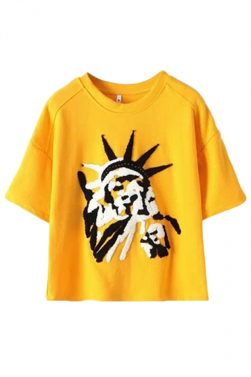 Yellow Ladies Crew Neck The statue of Liberty Printed T-shirt