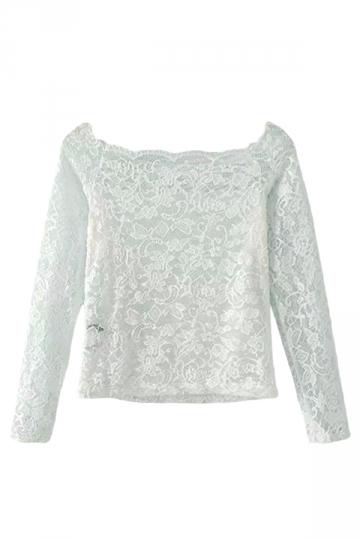 White Womens Horizontal Neck Long Sleeve Lace Plain T-shirt