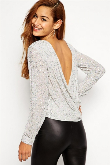 Silvery Ladies Crew Neck Long Sleeve Sequin Crop Backless T-shirt