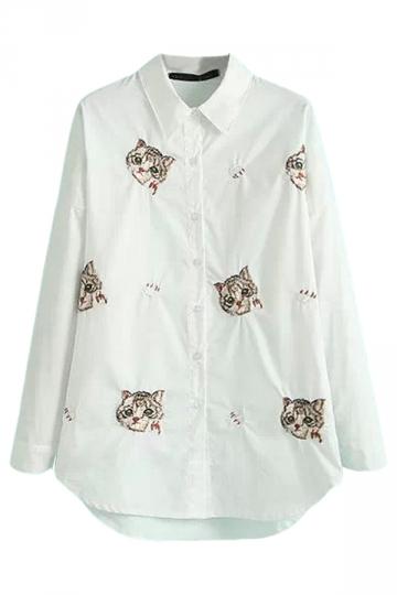 White Simple Ladies Long Sleeve Cat Printed Blouse
