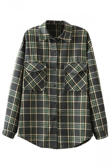 Green Simple Womens Plaid Pocket Long Sleeve Blouse
