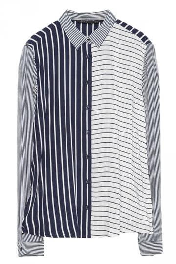 Navy Blue Ladies Long Sleeve Stripe Color Block Blouse