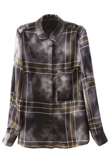 Gray Stylish Womens Long Sleeve Stripe Cloud Printed Blouse