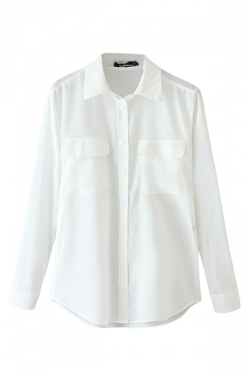 White Simple Womens Plain Pocket Chiffon Long Sleeve Blouse