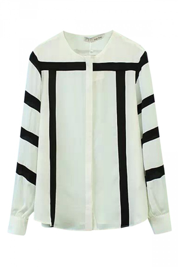 White Chic Womens Crew Neck Color Block Long Sleeve Chiffon Blouse