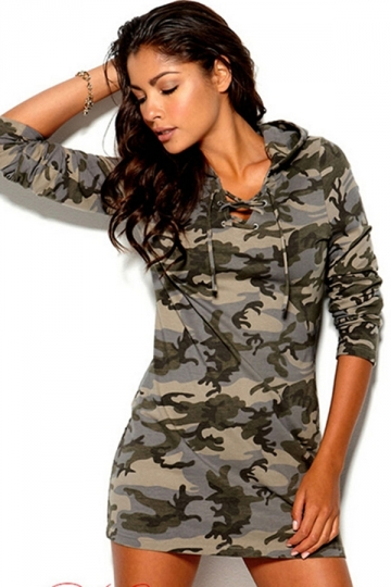 Green Casual Ladies Camouflage Printed Hooded Long Sleeve Dress