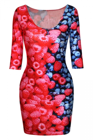 Red Womens Strawberry Blueberry Printed Crew Neck Bodycon Dress