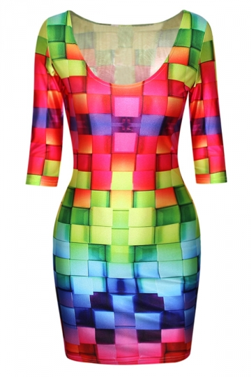 Red Modern Womens Colorful Plaid Printed Crew Neck Bodycon Dress