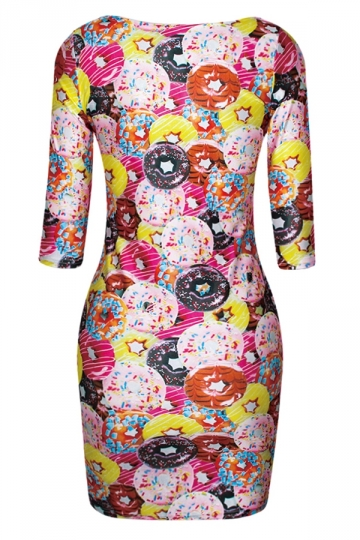 Rose Red Ladies Crew Neck Colorful Donuts Printed Bodycon Dress