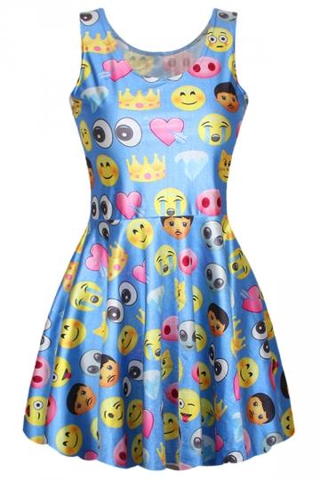 Blue Funny Womens Emoji Printed Flare Cute Skater Dress