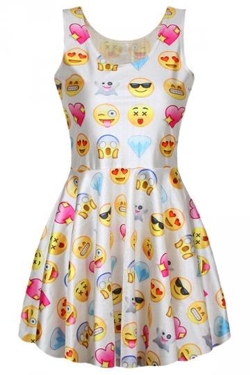 Womens Cute Fancy Emoji Printed Pleated Skater Dress White