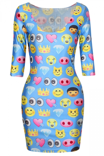 Blue Funny Emoji Printed Half Sleeves Fashion Bodycon Dress