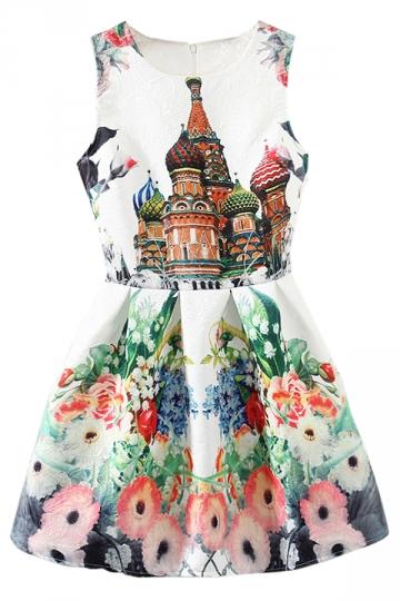White Ladies Flowers Castle Printed Fancy Slim Skater Dress