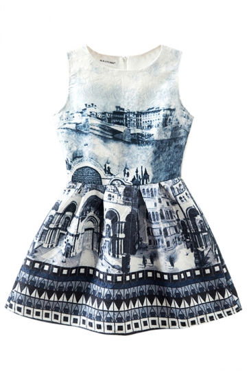 White Crew Neck Ladies Vintage Building Printed Skater Dress