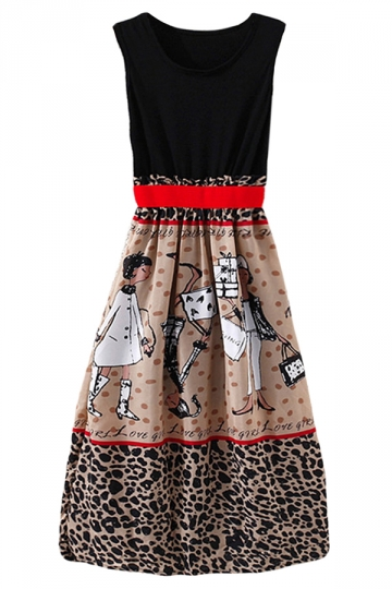 Black Womens Chic Sleeveless Leopard Cartoon Skater Dress