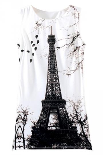 White Eiffel Tower Printed Sleeveless Crew Neck Tank Dress
