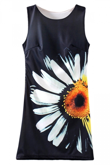 Black Chic Slim Flower Printed Womens Sexy Tank Dress