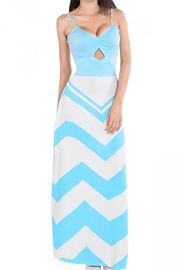 Blue Ladies Sexy Spaghetti Straps Cut Out Stripes Maxi Dress