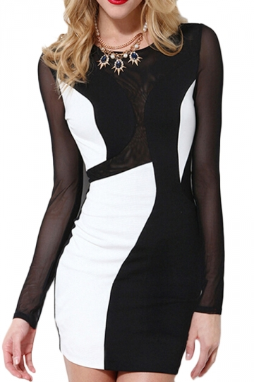 Black Pretty Ladies Mesh Patchwork Color Block Bodycon Dress