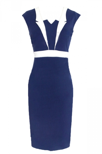 Navy Blue Pretty Ladies Color Block Office Midi Dress