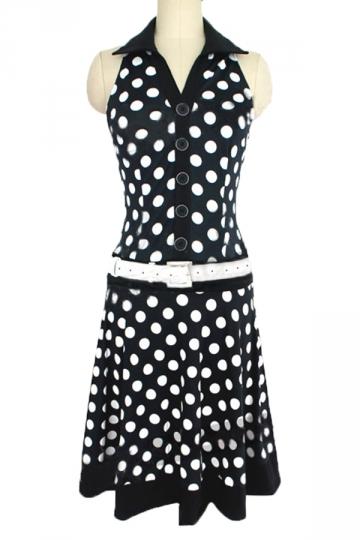 Black Pretty Womens Polka Dot Printed Sleeveless Skater Dress