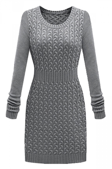Gray Trendy Ladies Slimming Long Sleeve Sweater Dress