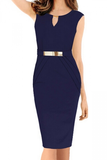 Blue Sexy Ladies V-neck Metal Decorated Midi Dress