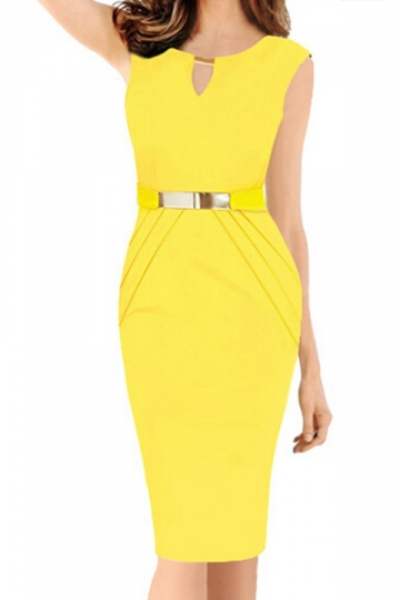 Yellow Sexy Ladies V-neck Metal Decorated Midi Dress