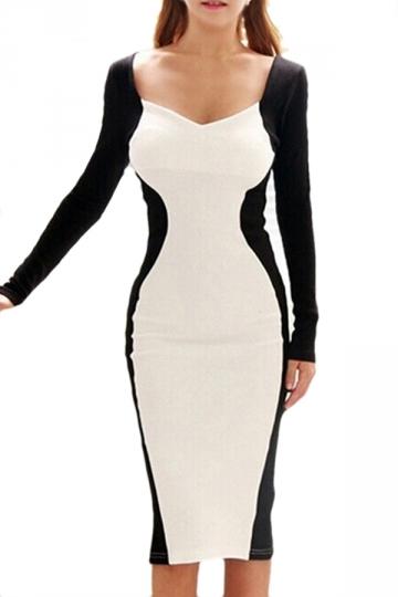 White Pretty Womens Long Sleeve Color Block Patchwork Midi Dress