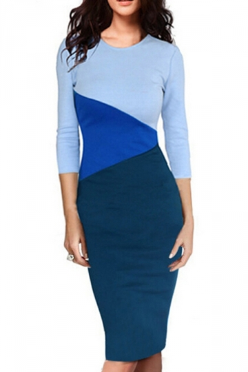 Blue Elegant Womens Crew Neck Color Block Patchwork Midi Dress