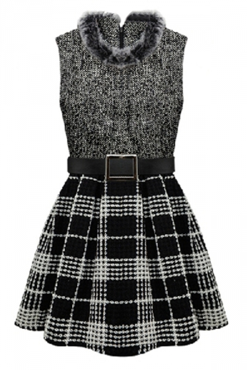 Gray Trendy Ladies Winter Fur Collar Plaid Skater Dress