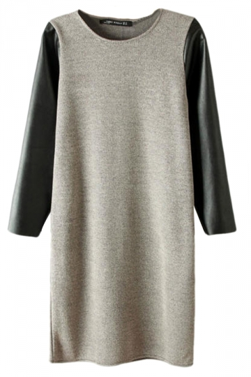 Gray Trendy Womens PU Long Sleeve Patchwork Shift Dress