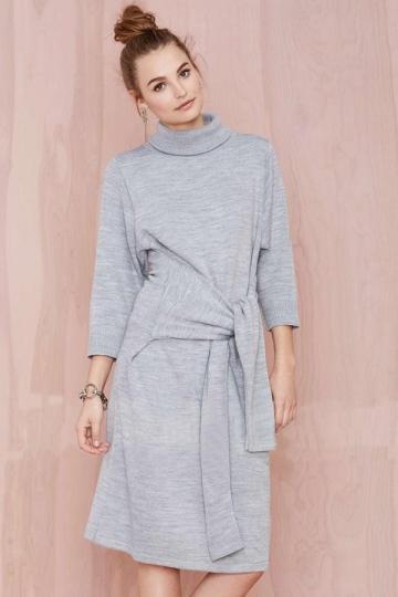 Gray Plain Dress