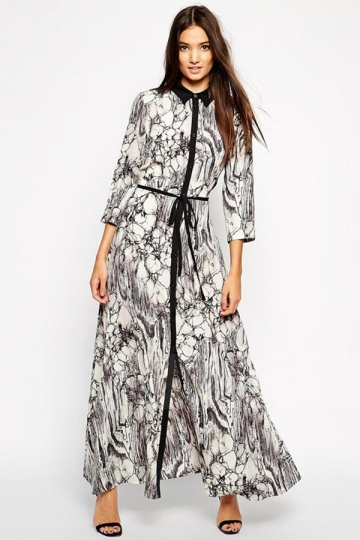 Gray Womens Marble Printed Maxi Turndown Collar Shirt Dress