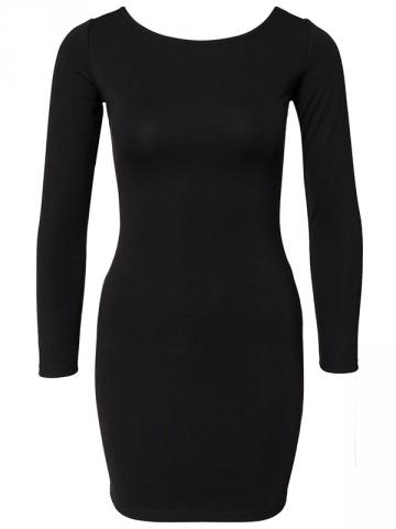 Black Fashion Ladies Back Zipper Plain Color Long Sleeve Club Dress