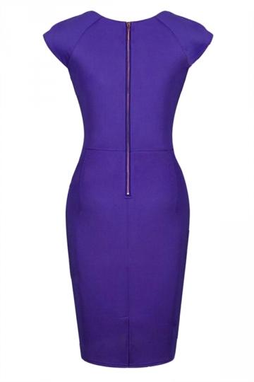 Blue Trendy Ladies Cap Sleeve Office Bodycon Midi Dress