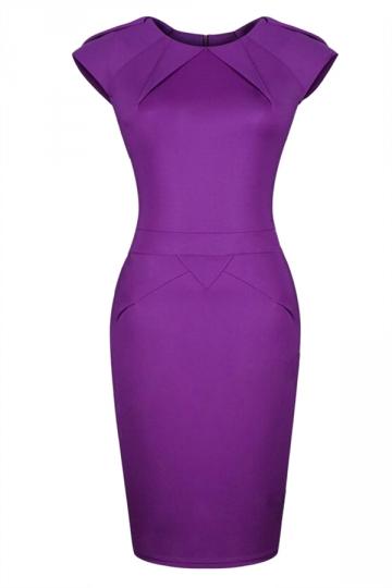 Purple Trendy Ladies Cap Sleeve Office Bodycon Midi Dress