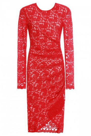 Red Pretty Womens Lace Jacquard Asymmetric Midi Dress