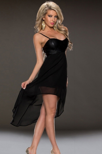 Black Sexy Womens Chiffon Strap High Low Sleeveless Prom Dress